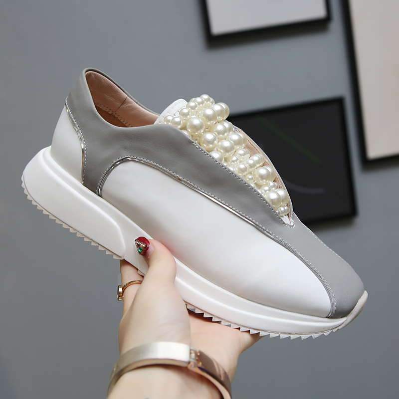 Retro Pearl Platform Flat Shoes Women Mixed Color Sneakers Round Toe Ladies Shoes Cozy Sport Dad Shoes Casual Zapatos De Mujer(China)