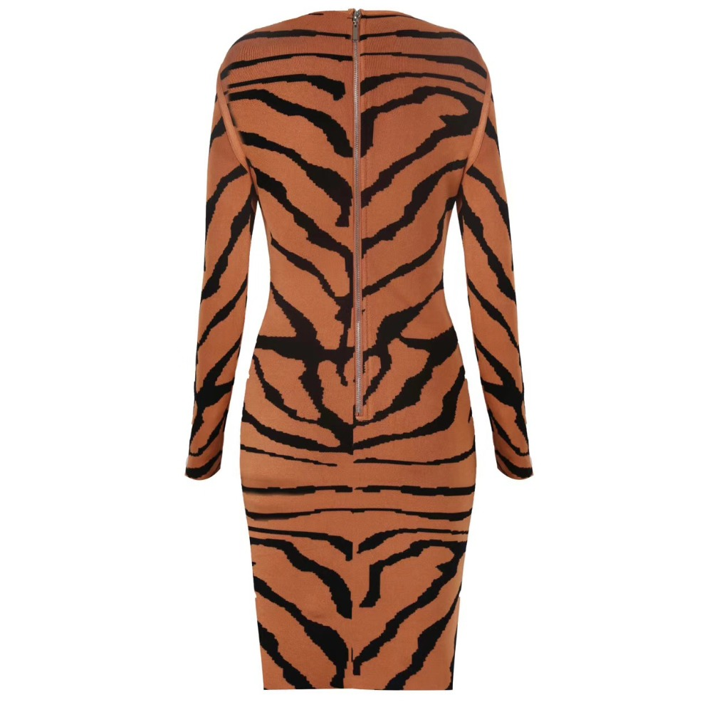 Tiger pattern Sexy Women Long Sleeve Bandage Dress Round Neck Jacquard Striped Dress Light Brown-in Dresses from Women's Clothing    2