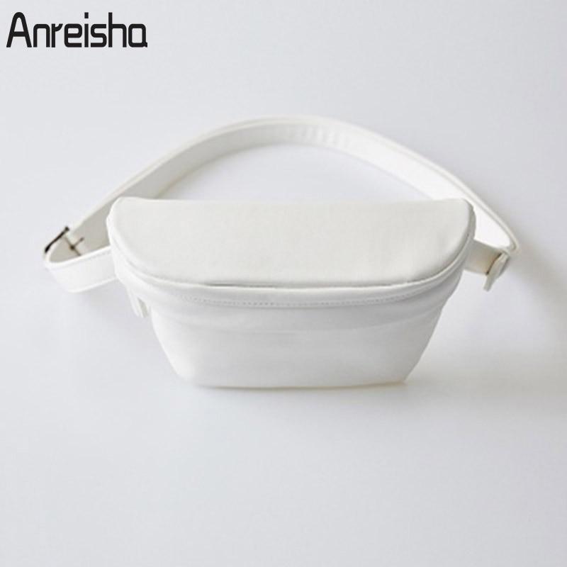Anreisha Fashion Women Waist Bag Quality PU Leather Fanny Pack Bag For Women Female Summer Vacation Casual Belt Coin Purse Bags