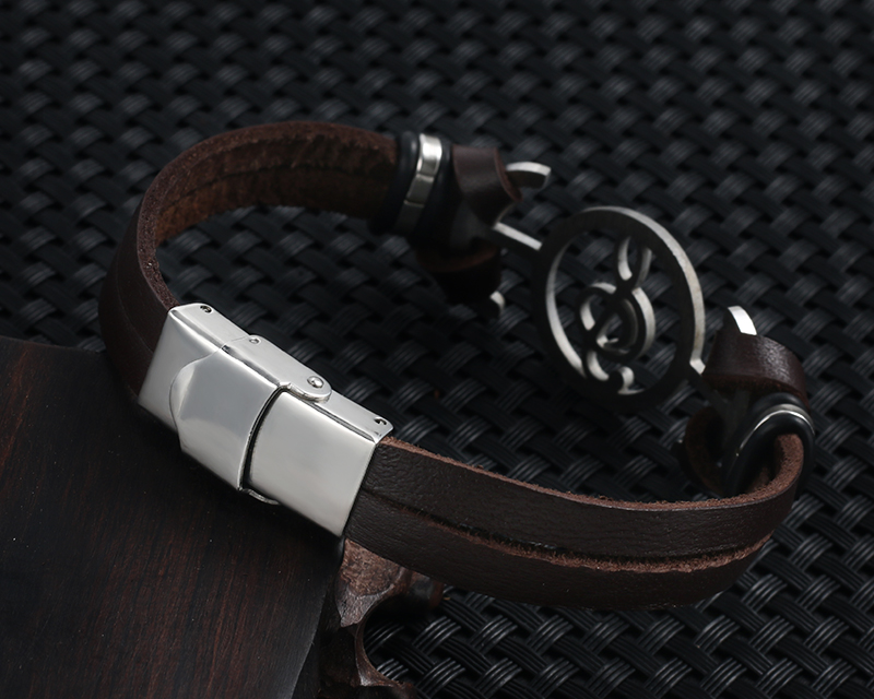 Stainless steel Music Leather Bracelets with Treble Clef IMG_0123