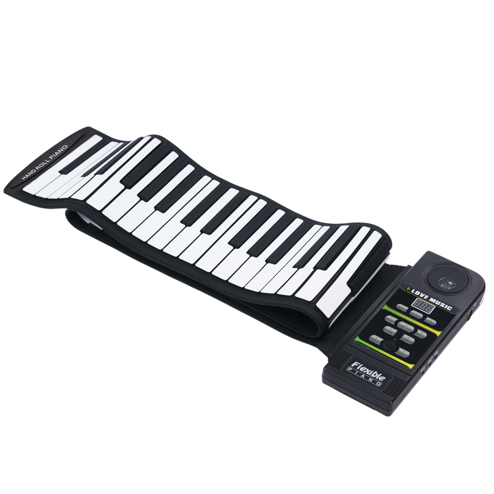 KONIX PN88S noir 88 touches 28 tons 100 rythmes électronique Flexible retrousser Piano USB & MIDI Port avec haut-parleur pour enfants