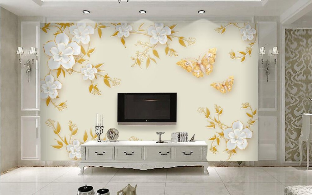 Papel De Parede 3D Wallpaper Printed butterfly flowers Photo Wall Murals Wall Paper Vinyl Wallpapers For Living room shinehome butterfly nordic wall picture wallpapers 3d wallpaper for walls 3 d living room wall paper wallpaper murals roll art