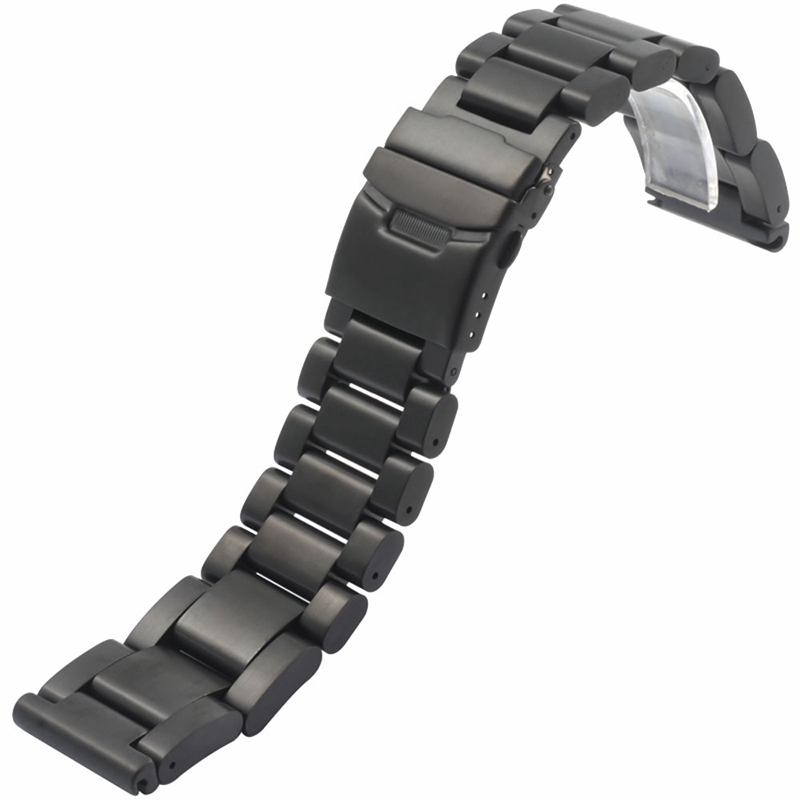 22mm 24mm 26mm Solid Black Stainless Steel Watch Band Men's Replace Strap High Quality Bracelet Fold over Clasp + 2 Spring Bar stylish 8 led blue light digit stainless steel bracelet wrist watch black 1 cr2016