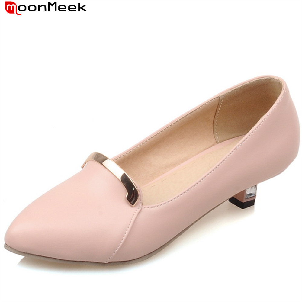 MoonMeek new fashion pumps women shoes square heel pointed toe slip on shallow with metal decoration med heels ladies shoesMoonMeek new fashion pumps women shoes square heel pointed toe slip on shallow with metal decoration med heels ladies shoes