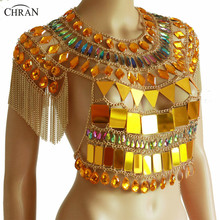 Chran Gold Tassels Sequin Chain Crop Top Classic Chainmail Bra Body Chain Sexy Showgirls Rave Outfit chran gem bead crop top chainmail rave bra black chain shoulder necklace ibiza sonar wear edm outfit body jewelry chain crn2801