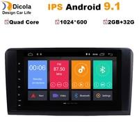 9 Android 9.1 IPS Car dvd radio audio Multimedia Player For Mercedes Benz GL ML CLASS W164 ML350 ML500 X164 GL320 GPS Navi RDS