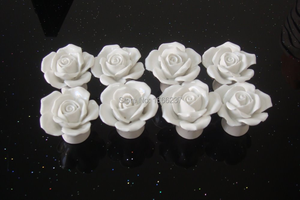 Optional White Vintage Rose Flower Ceramic Door Knob Cabinet Drawer ...