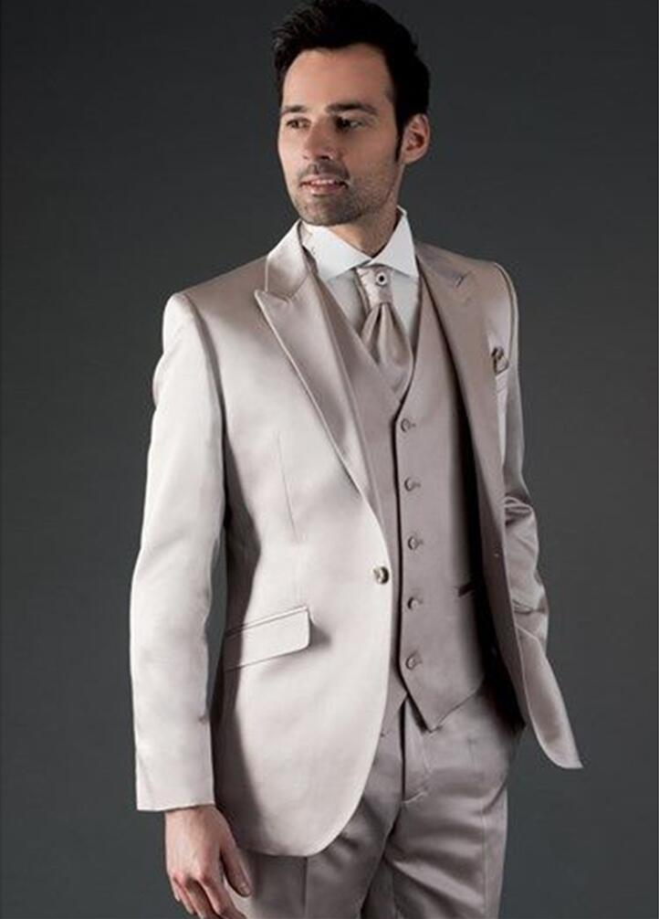 Custom Wedding Suits For Men Champagne Satin Men Suit Slim Fit 3 Piece Tuxedo Prom Blazer Groom Party Suits (Jacket+Pants+Vest)