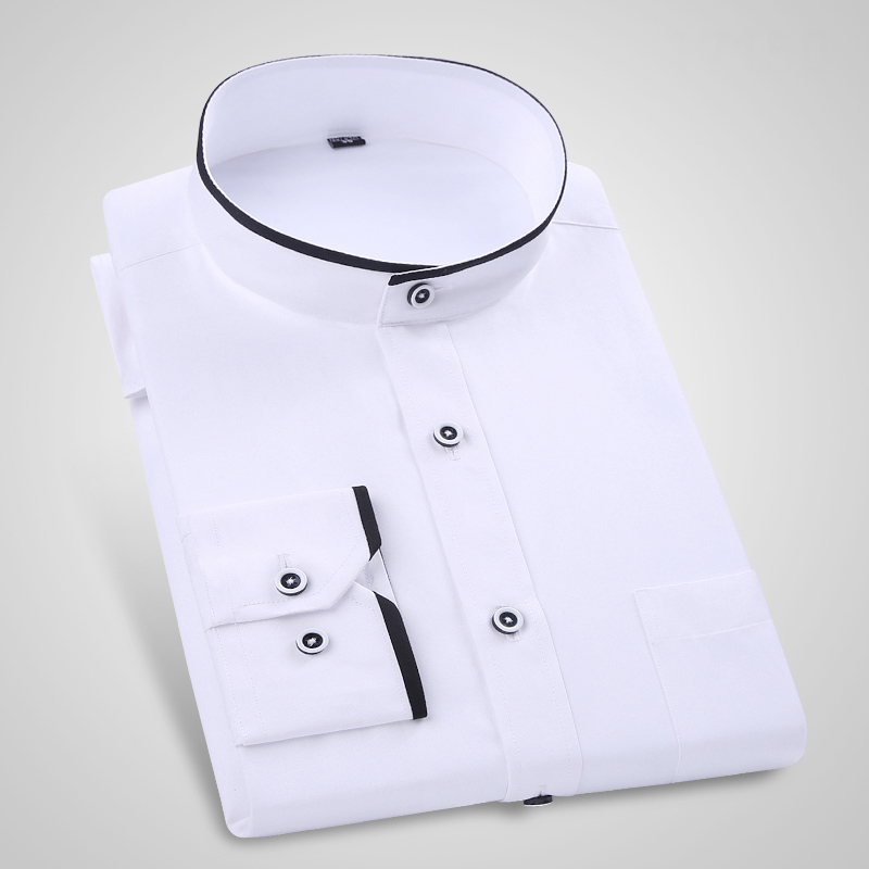 New classic mandarin collar long sleeved mens dress shirts Men's Polo Shirts