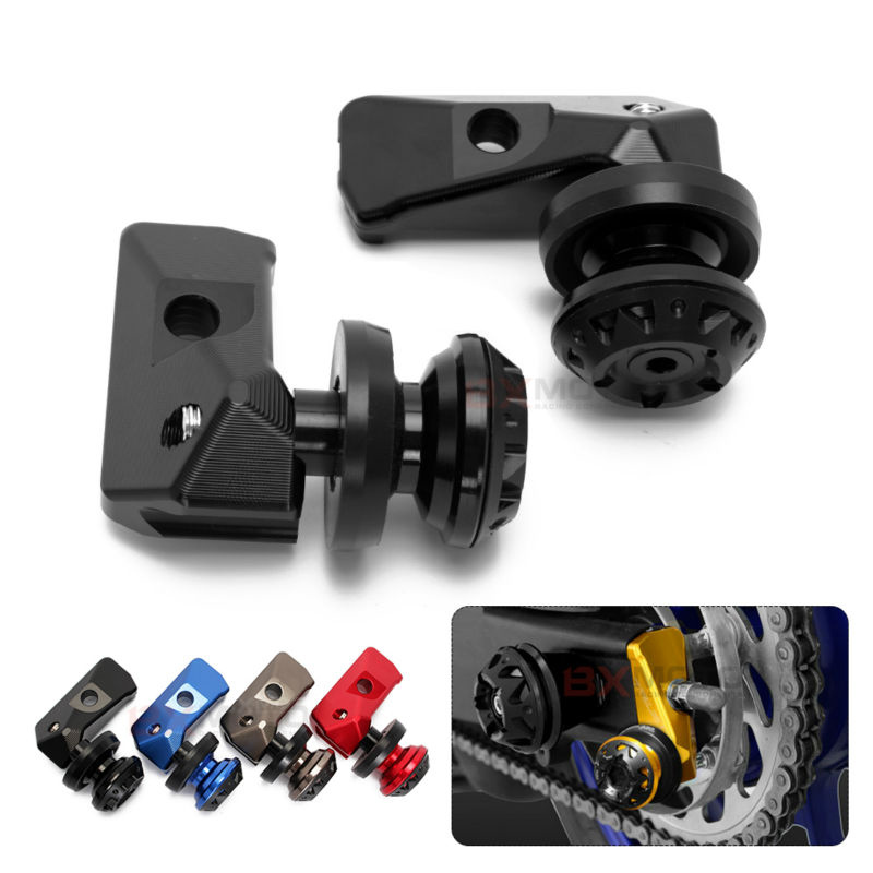CNC Motorcycle Rear Axle Spindle Chain Adjuster Blocks with Spool Sliders Kit For yamaha YZF R3 MT-03 MT-25 15-16 R25 13-15 MT03 цена и фото