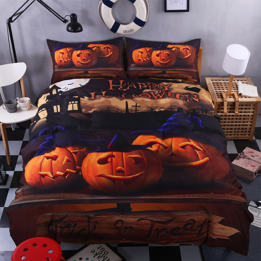 Funny bed sheets - Happy Halloween Bedding Set For Kids 4pcs Funny Gift 3d Duvet Cover Set Pumpkin Decor Bed