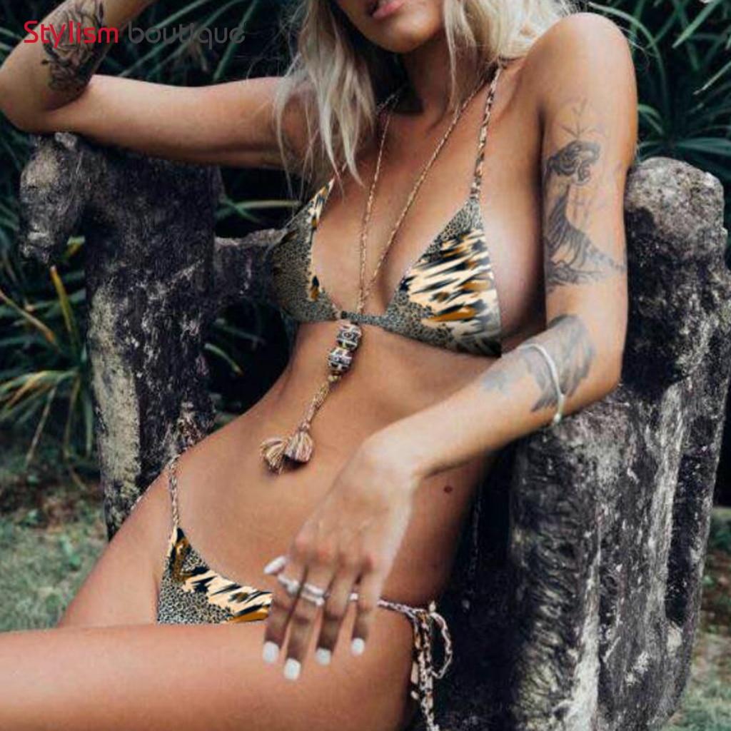 2018 New Bikinis Set Women Swimwear Sexy Thong Bottom Bathing Suit Brazilian Bikini Leopard Printed Swimsuits maillot de bain 2017 solid color thong bikini bottom women sexy brazilian swim suit young ladies folds tanga biquinis maillot de bain