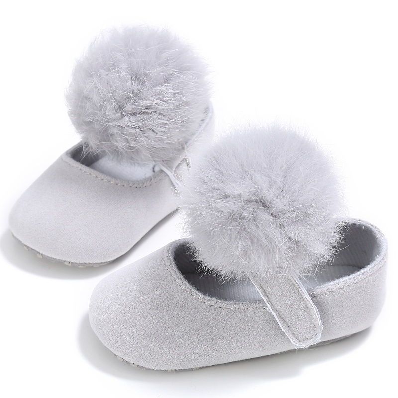 Fashion Spring Baby Girls Sweet Shoes Infant Toddler Girls Soft Crib Cute Hair Ball Casual Shoes