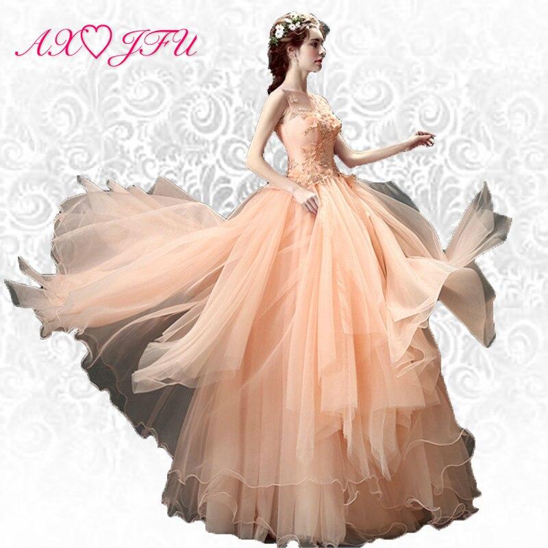 AXJFU Rosa blomma brud beading pärlor kvällsklänning till middag kommer att utföra prinsessa lyxig kalkon spets avton Klänning 2415