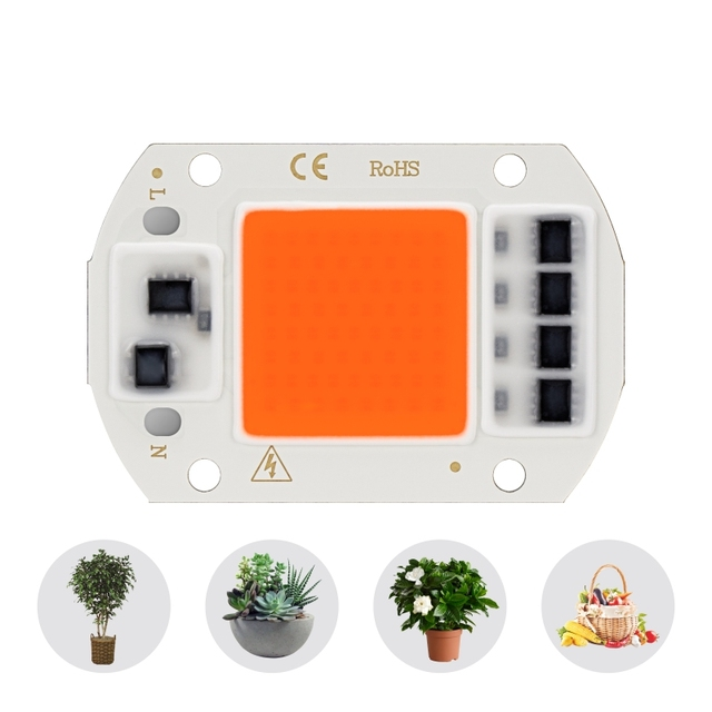 Led Cob Grow Light Chip Full Spectrum AC 220V 10W 20W 30W 50W  380nm 780nm Phyto Lamp For Indoor Plant Seeding Flower Grow