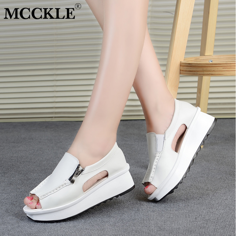 MCCKLE Women Casual Solid Wedges Cover Heel Sewing Platform Shoes Female Peep Toe Zipper Sandals Woman Sandalia Feminina