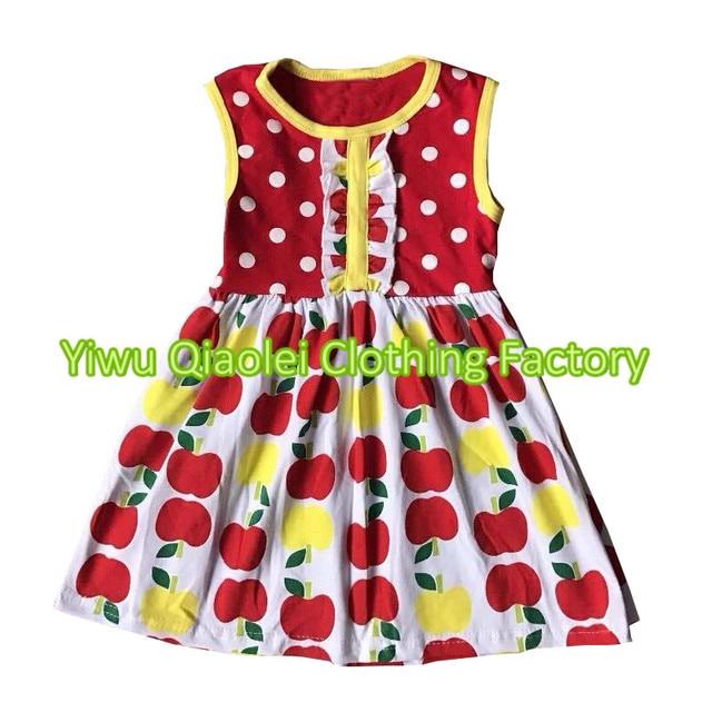 Nuevo modelo muchacha bonita vestido Apple y Polka Dot vestidos ...