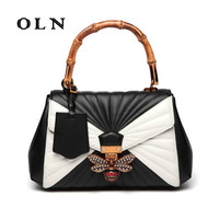 OLN Brand Luxury new women's bag 2018 vintage honey design bag bamboo festival hand carried leather shoulder bag