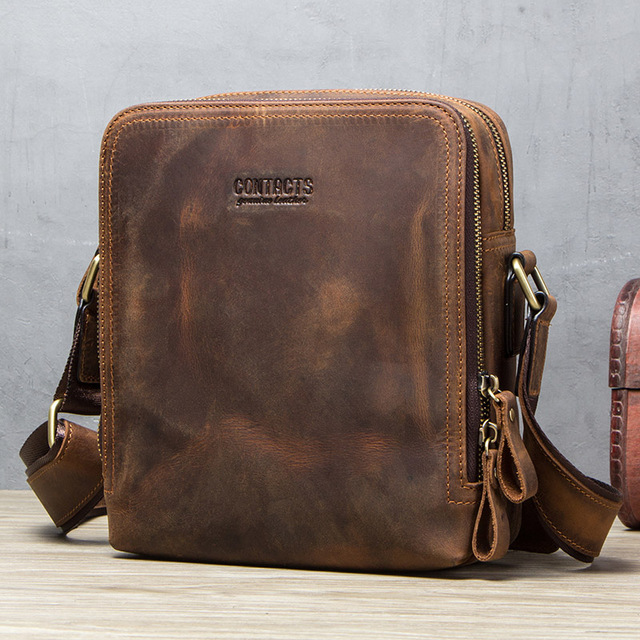 CONTACT'S 2019 new genuine leather men's messenger bag vintage shoulder bags for 7.9 5