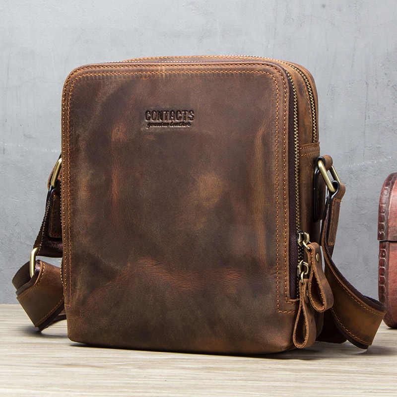 """Contact's 2020 Baru Kulit Asli Pria Messenger Tas Vintage Tas Bahu untuk 7.9 """"iPad Mini Kualitas Tinggi tas Selempang"""
