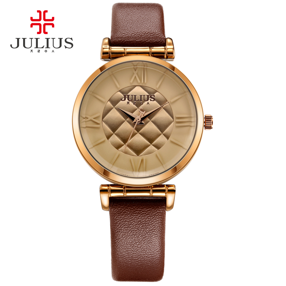 Brand Julius Sparkling Fashion Crystal Plain Leather Strap Round Dial Women s Whatch Table Elegant Watches