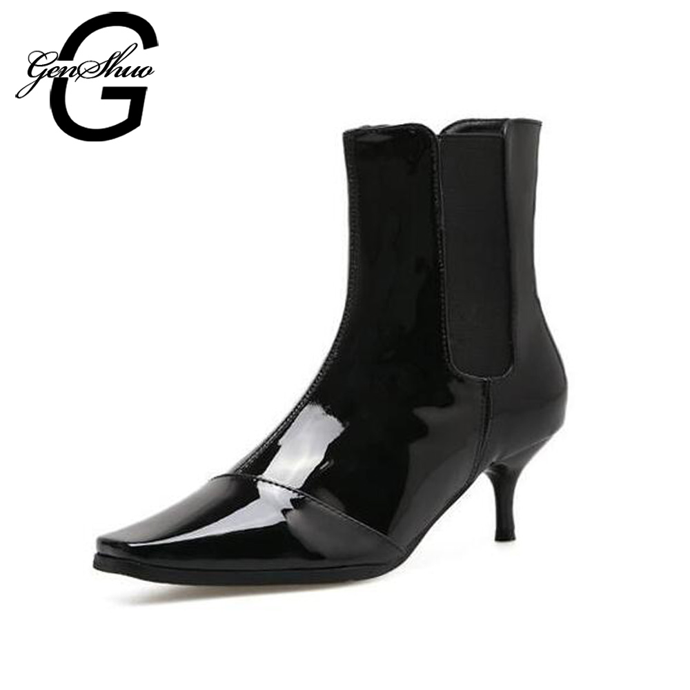 GENSHUO Women Kitten Heels Ankle Boots 2017 New Winter Patent Leather Fashion Low Heels 6CM Square Toe Boots Women Booties kitten heels