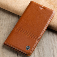 Genuine Leather Case For Sony Xperia XA Flip Stand Magnetic Cowhide Mobile Phone Cover For Sony