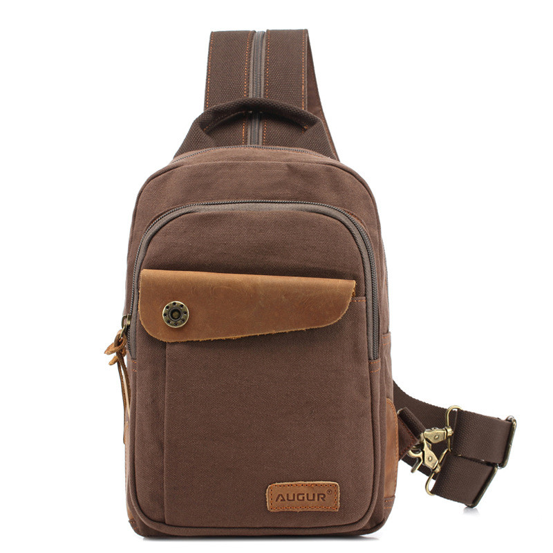 Men Daily Casual Travel Canvas Chest bag Small Backpack Daypack For Male casual canvas satchel men sling bag