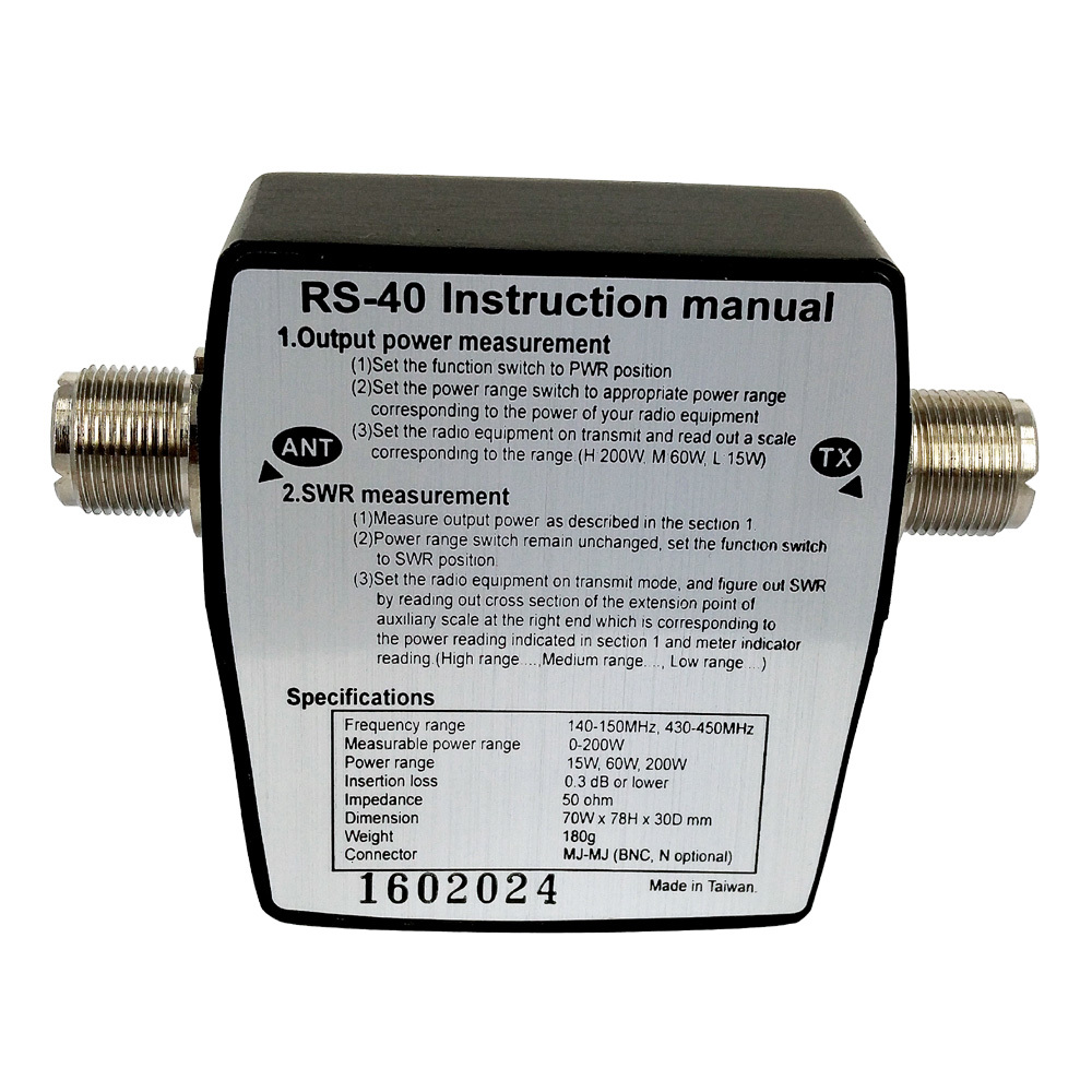 RS-40 SWR Power Meter VHF UHF 144/430 MHz 15W 60W 200W Band Standing Wave Meters Test Antenna Walkie Talkie Car Radio
