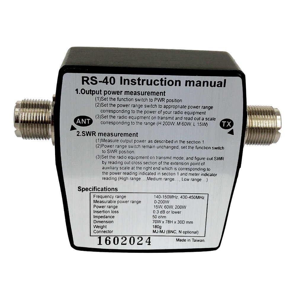 RS-40 КСВ измеритель мощности VHF UHF 144/430 МГц 15 Вт 60 Вт 200 Вт полоса стоячих волновых метров тестовая антенна Walkie Talkie автомобильное радио