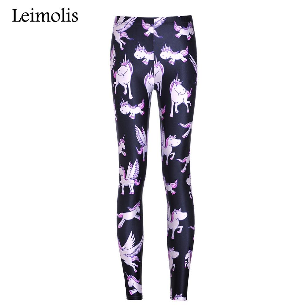 Leimolis High Waist punk rock Harajuku workout push up fitness sexy 3d print purple unicorn women   leggings   plus size