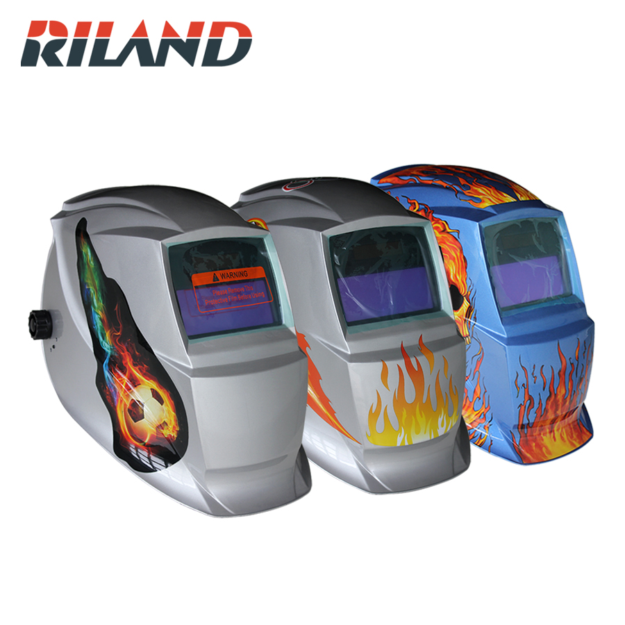 RILAND Solar Auto Darkening Electric Welding Mask/Helmet/Welder Cap/Welding Lens/Eyes Mask for Welding Machine Plasma Cutting high opinion for free post welding mask shading welding mask welder cap for welding equipment chrome brushed
