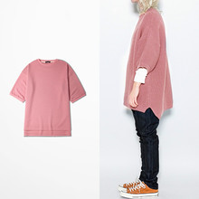 men and women 7 minutes sleeve pullovers knitted top loose round collar bat sweaters
