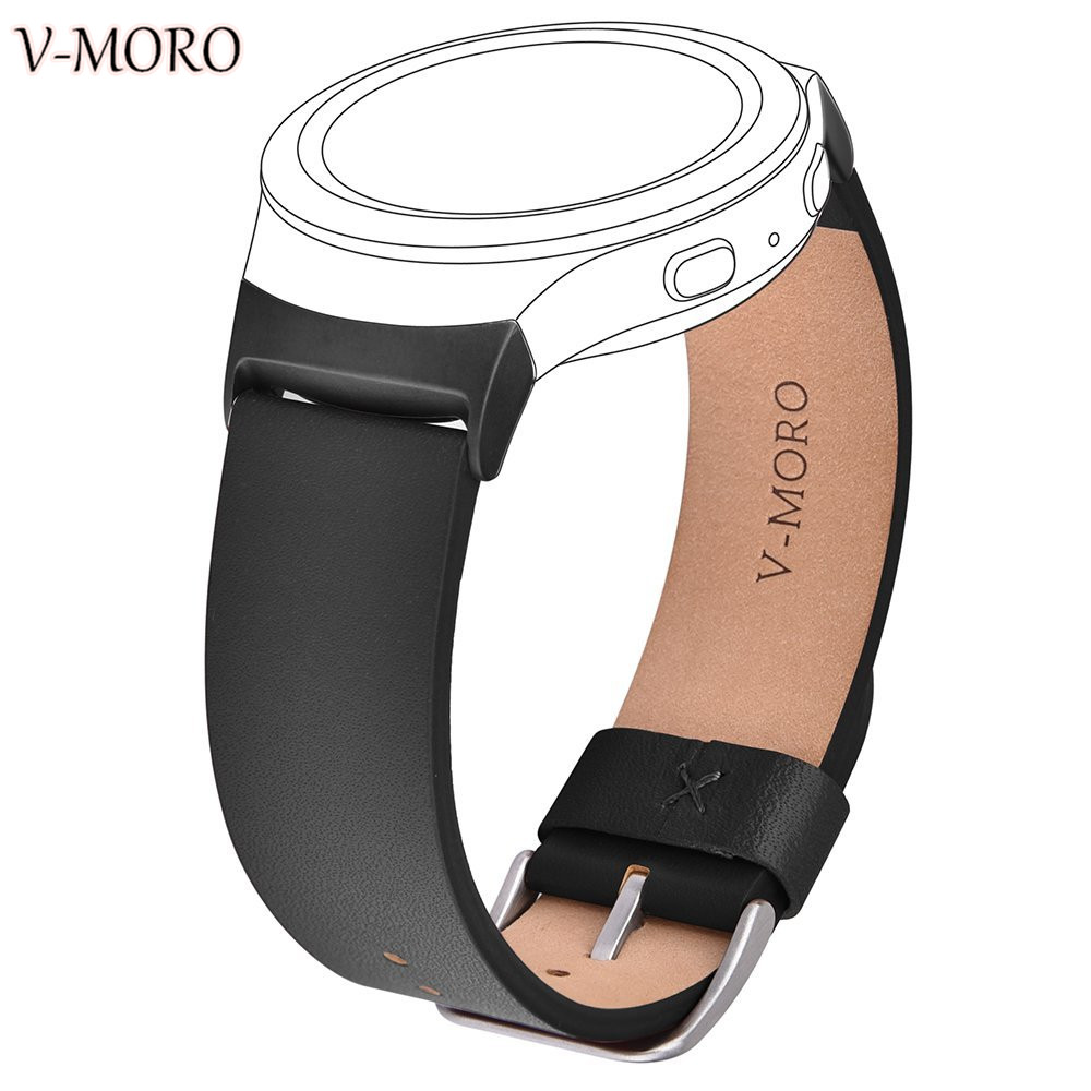 цена на V-Moro 2017 Wristband For Samsung Gear S2 20MM Band+Adapter Soft Leather Strap For Samsung Gear S2 SM-R720 SM-R730 Sports Straps