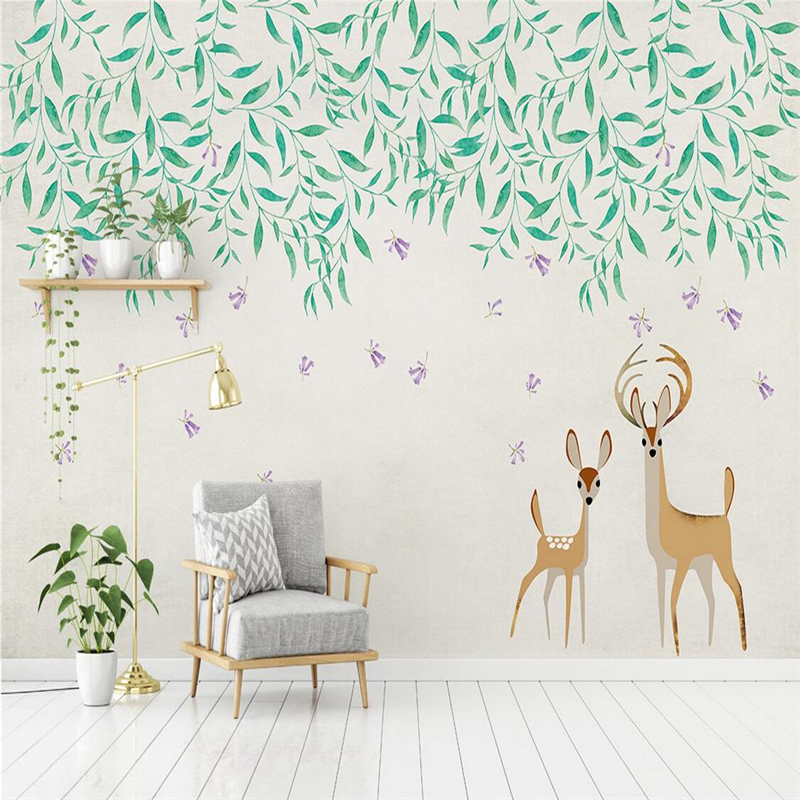 3D Photo Murals Cartoon Kids Wallpapers Cute Elk TV Wall Background Simple Wallpaper for Walls 3D Painted Green Willow Kids Room shinehome cute circle bubble 3d photo wallpaper for walls 3 d living room wallpapers kids room mural roll wall paper background