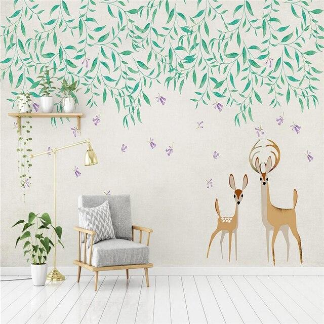 3D Photo Murals Cartoon Kids Wallpapers Cute Elk TV Wall