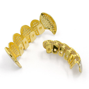 Image 4 - Hip Hop Punk Teeth Grillz Men Gold Rapper Teeth Top & Bottom Bling Grills Dental Mouth With CZ Cosplay Party Hip Hop Jewelry