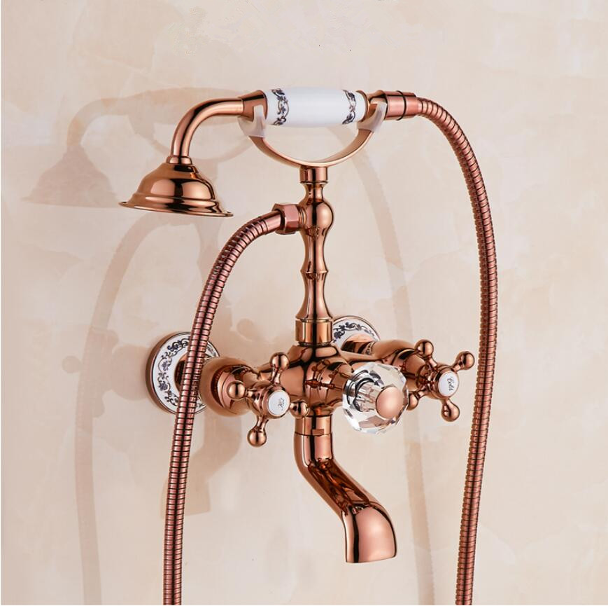 Bathtub Faucet Brass Rose Gold/Gold/Chrome Wall Mounted Rain Shower Faucet Hand held 2 Handle Luxury Bathroom Crane Tap Set anon маска сноубордическая anon somerset pellow gold chrome