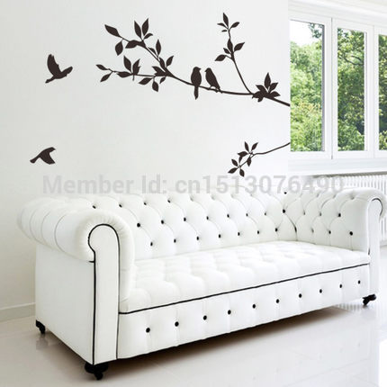 DIY Black Bird Tree Branch Tree and Bird Wall Stickers Vinyl Wall Decals 8171 Family Mural Art Home Decor 1