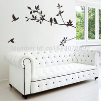 DIY Black Bird Tree Branch Tree and Bird Wall Stickers Vinyl Wall Decals 8171 Family Mural Art Home Decor
