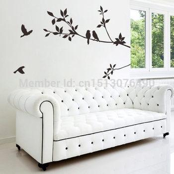 DIY Black Bird Tree Branch Tree and Bird Wall Stickers Vinyl Wall Decals 8171 Family Mural Art Home Decor 1