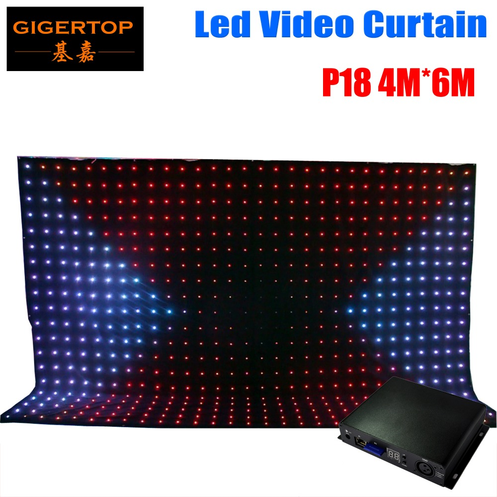 P18 4M*6M Or 6m*4M Led Vision Curtain RGB Color 3IN1 Led Video Curtain Light Off Line Mode Dmx Controller Cheap Price 90V-240V