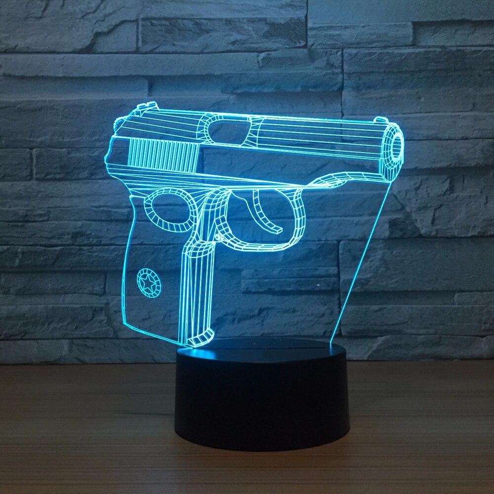 7 color change bedroom bedside 3d pistol modelling led