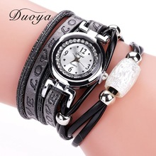 Duoya Brand Watch 2017 New Fashion Women Dress Bracelet Quartz-Watches Ladies Silver Love Leather Beaded Charm Casual Wristwatch
