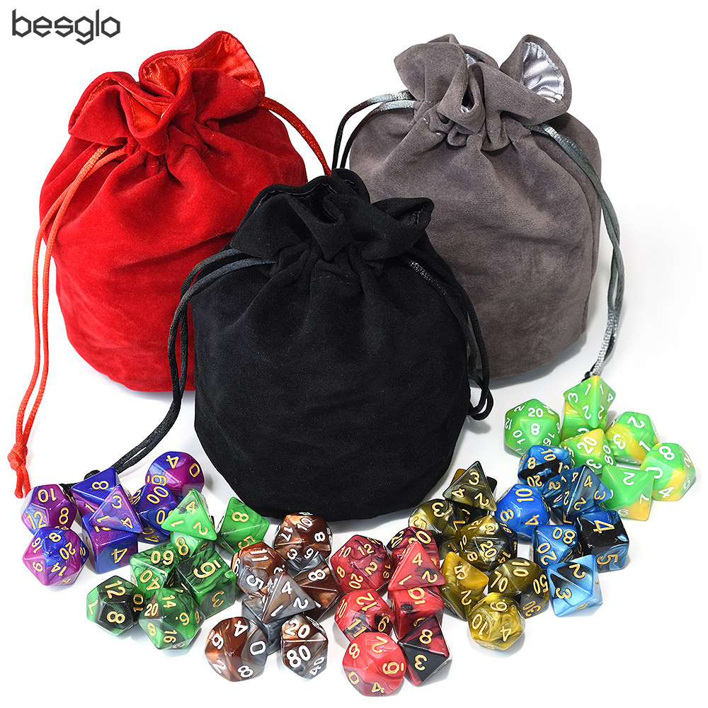49pcs Polyhedral Dice DnD Dice Double Colors Dice With Pouch For Dungeons And Dragons DND RPG MTG Games D4 D6 D8 D10 D% D12 D20
