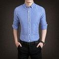 2017 Hot-selling Primavera Camisas Masculino longo-luva de Algodão da listra Dos Homens camisa de moda casual camisa Plus Size 5XL
