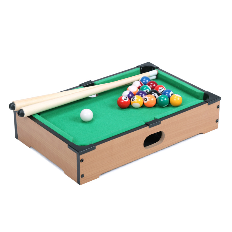 13.5 Inch Mini pool tabletop game set wooden toys for children mini billiard table with cues triangle and mini pool ball