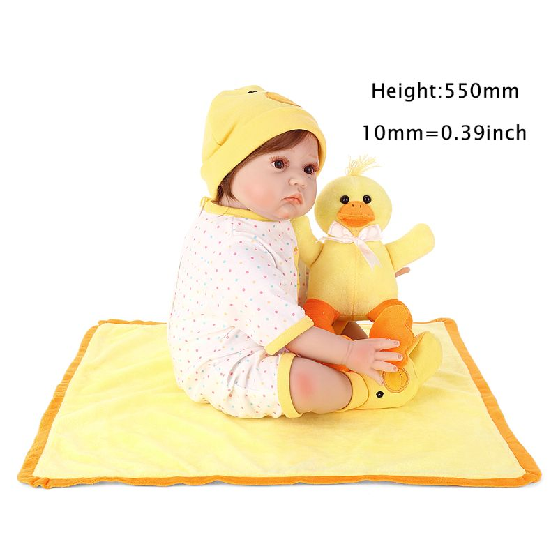 цена на M89C55cm Lifelike Silicon Babydoll Mini Yellow Duck Blanket Cute Toy Early Childhood