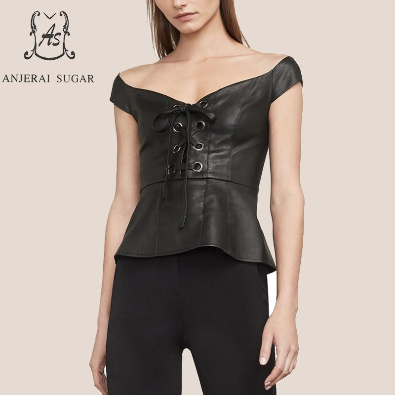 Summer tops for women sheepskin genuine leather crop top female black sexy OL Slim Low cut strapless sleeveless leather tank top