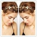 2016 Moda Trendy New Retro Lady Mulheres do Metal do Ouro Folhas Headpiece Testa Faixa de Cabelo Headband Acessórios Para o Cabelo